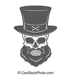 Outlaw skull with beard and high hat portrait vector....