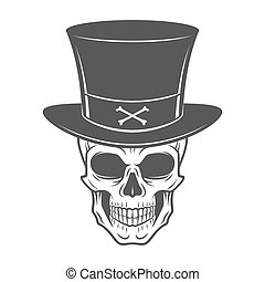 Steampunk skeleton with high hat. Smiling victorian bandit...