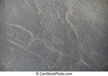 Aerial view of Nazca Lines geoglyphs in Peru The Lines were...