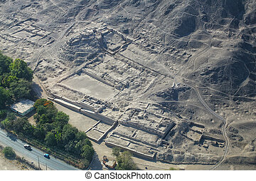 Aerial view of ancient ruins near Nasca, Peru. - Aerial view...