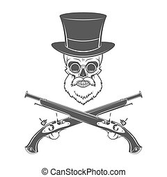 Gentleman of fortune skeleton with beard, glasses, top hat...