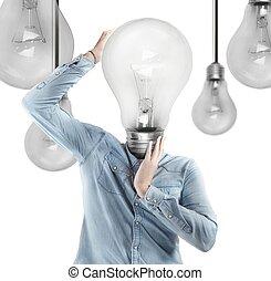 Ingenious head - Man with a light bulb as head