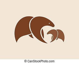 Vector images of two brown bears.