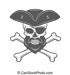 Pirate skull in cocked hat with beard, eye patch and crossed...