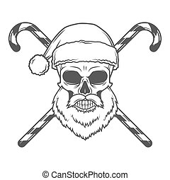 Bad Santa Claus biker with candies poster. Heavy metal Christmas portrait. Rock and roll new year t-shirt illustration