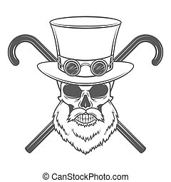 Old bearded steampunk gentleman skull with goggles and...