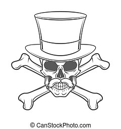 Outlaw skull with mustache, high hat and crossbones portrait. Crossbones head hunter logo template. Steampunk rover t-shirt insignia design