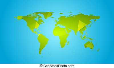 Green polygonal earth map video animation - Green polygonal...