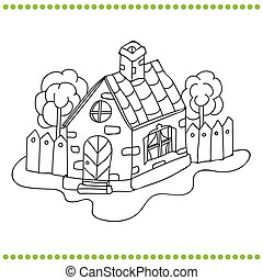 Black and white illustration of a house Vector coloring book