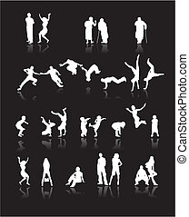 Silhouettes of people: fun children, young couples, sport teens, old age