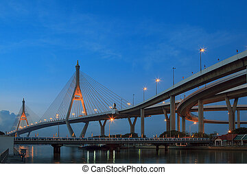morning blue light sky and bhumibol II bridge crossing...