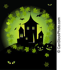 Halloween night holiday, house on hill