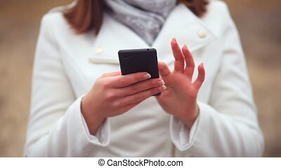 girl woman talking big hands on phone smartphone sitting on...