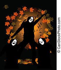 bailando,  Halloween, disfraz, fiesta, gente