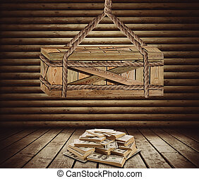 Big box suspended above money - Big wooden box suspended...