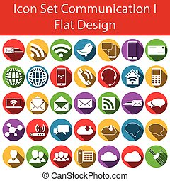 Flat Design Icon Set Communication I