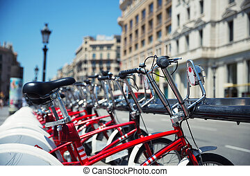 City bicycles for rent parked in Barcelona