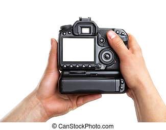 Hands holding digital camera isolated on white