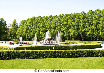 fountain in the park of castle herrenchiemsee