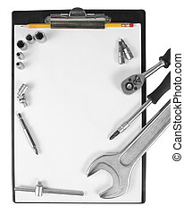 Clipboard and tools - Worker clipboard and tools isolated on...