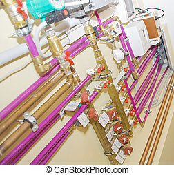 Heating system. Tubes and valves