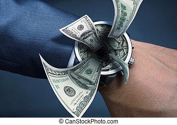Sucking money - Watch on businessman hand sucking money