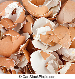 Eggshell cracks - Close-up of eggshell cracks. Background or...