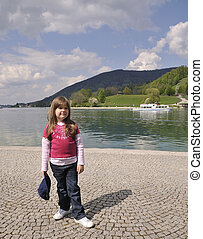 little girl at the lake - little girl at the Tegernsee in...