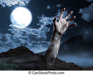 Zombie hand coming out of his grave Full moon, halloween...