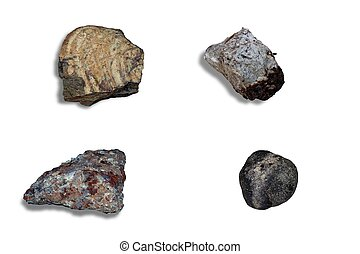 Collage meteorites on a white background