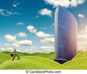 Woman running to the building - Businesswoman is running to...