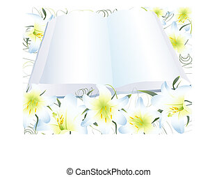 open clear book and white lily - illustration of open clear...