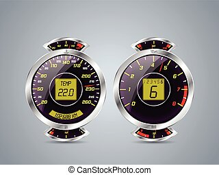 Shiny metallic speedometer and rev counter with other...