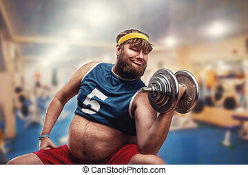 Man with a dumbbell - Fat man do exercises with a dumbbell...