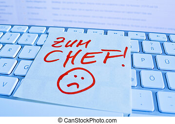 note on computer keyboard: for chef