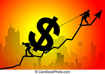 Business team moving up the dollar symbol - Silhouette of...