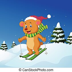 Cartoon bear skiing down a mountain