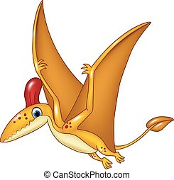 Cartoon funny pterodactyl - Vector illustration of Cartoon...