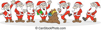 group of santa clauses wishes merry christmas - vector...