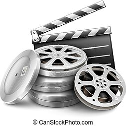 Movie film disk with tape and directors clapper for cinematography filmmaking