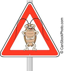 cockroache warning sign - vector illustration of a...