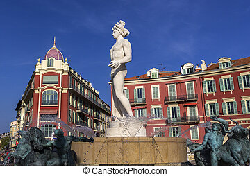Fontaine de Soleil, Place Massena in Nice - Fountain of the...