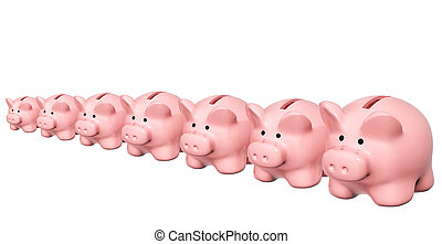 Seven piggy banks from different sizes - Conceptual image -...