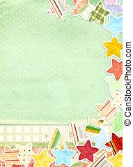 papper,  grunge, bakgrund, Stjärnor