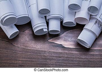 pino, de madera, vendimia, tabla, con, Pila, de,...