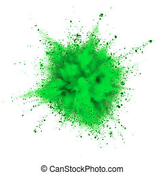 powder explosion - green powder explosion isolated on white...