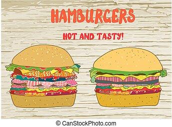 Hamburgers set -  illustration on the wood texture