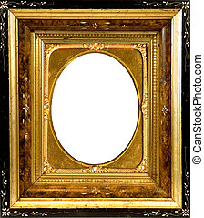 antique wood frame with gold insert