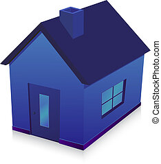 blue house  vector illustration