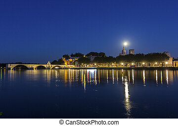 Full moon over Avignon in France - Full moon over Old Town...